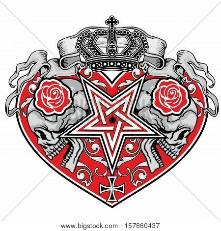 Gothic coat of arms with skull, and heart grunge.vintage design t-shirts