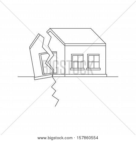 Earthquake. Catastrophic natural phenomenon destroying houses. Disaster. Vector illustration.