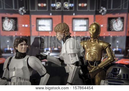 Recreation of a scene from Star Wars A New Hope: Luke Skywalker & Han Solo in stormtrooper disguise aboard the Death Star. C3P0 and R2D2 look on. Using Hasbro Black Series 6 inch action figures