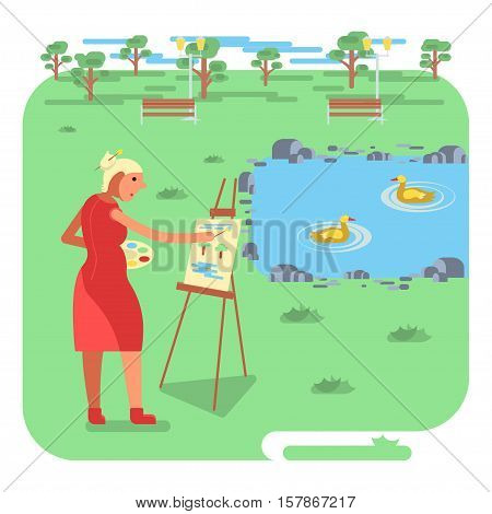Artist female or old woman painting on canvas with Lake landscape with ducks. haracter design in flat style. Vector illustration