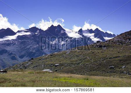 mountains in gran paradiso national park in italy