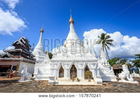 Wat Phra That Doi Kong Mu Temple On A Mountain Top At Mae Hong Son Northern Of Thailand