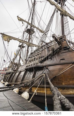 Old Ship galleon details in Portland Maine, USA