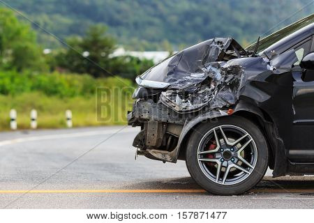 Black Car Get Damaged By Accident On The Road
