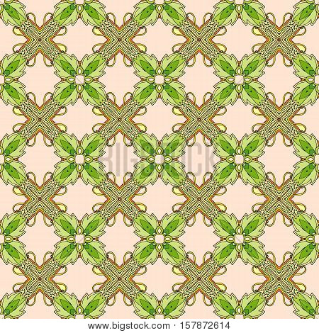 Seamless vector pattern with stylized flowers and green leaves. Print for fabric.