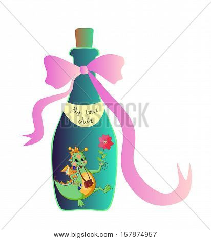 My inner child. Cute cartoon allegorical illustration with cheerful little dragon in the bottle. Vector image.
