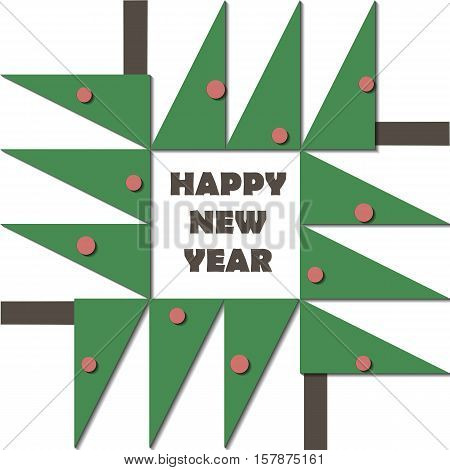 Happy New Year Greeting Card. Paper cut collage applique cutout child. Christmas tree with red balls geometric material design. Vector illustration