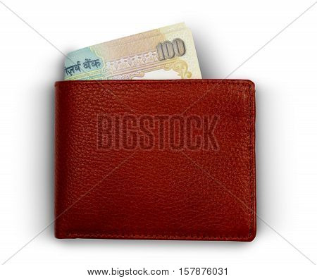 Indian 100 Rupee Currency Notes in a Wallet