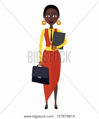 Spectacled African american business-lady. Bespectacled business-woman ready for work flat cartoon vector illustration. Eps10. Isolated on a white background.