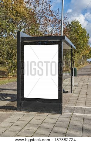 An image of a bus stop with a blank bilboard for your advertising situated in the swedish City of Helsingborg.