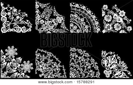 illustration with eight quadrant decorations on black background