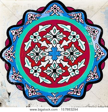 Illustration of an Islamic cealing decoration from the Fatith mosque in Side Turkey.