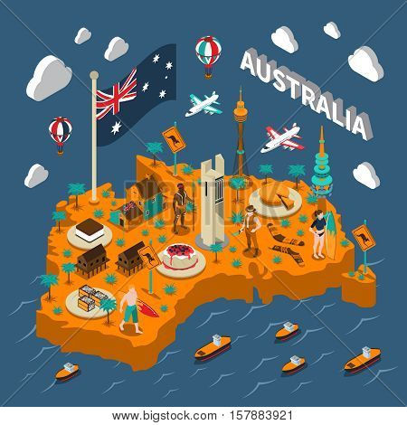 Australian touristic isometric map with national cuisine landmarks wildlife popular sport and surfers symbols poster vector illustration