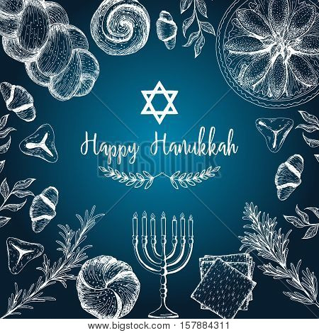 Card for jewish holiday Hanukkah. Hand drawn sketch Hanukkah. Vector illustration. Linear graphic
