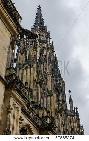 Closeup of St Vitus Cathedral in Prague, Czech Republic with overcast sky.