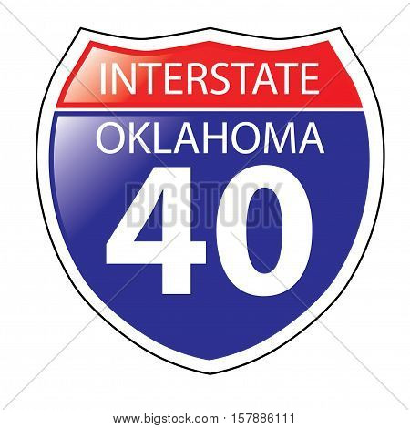 Layered artwork of Oklahoma I-40 Interstate Sign