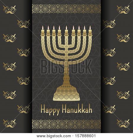 Hanukkah background with menorah and text Happy Hanukkah. Candles, David star and jewels. Beautiful greeting card.