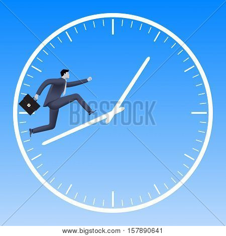 Running up the clock handles business concept. Confident businessman in business suit with case running up the clock handles. High speed business time to success conversion