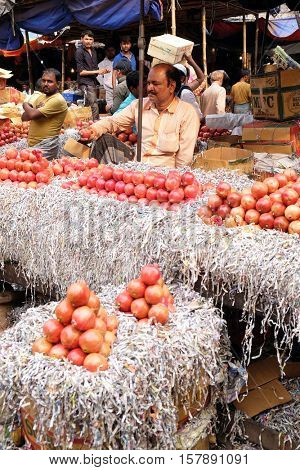 KOLKATA, INDIA - FEBRUARY 11: The atmosphere in fruit market in morining time in Kolkata, India on February 11, 2016.