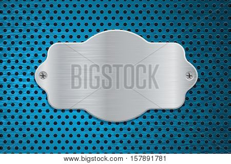 Metal shield on blue perforated background. Vector illustration