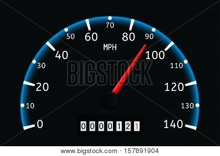 Speedometer with glow. Vector illustration on black background