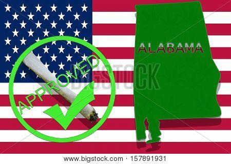 Alabama On Cannabis Background. Drug Policy. Legalization Of Marijuana On Usa Flag,