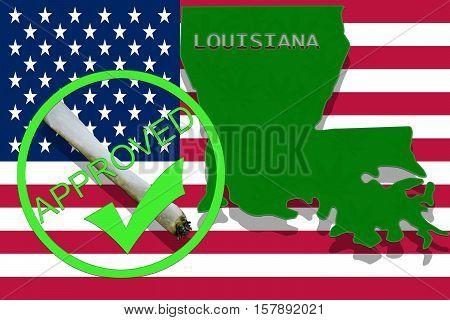 Louisiana On Cannabis Background. Drug Policy. Legalization Of Marijuana On Usa Flag,