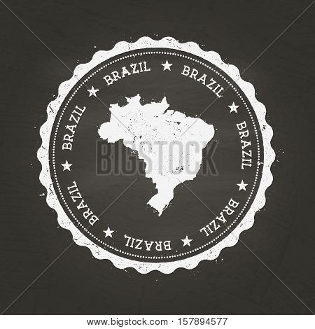 White Chalk Texture Rubber Stamp With Federative Republic Of Brazil Map On A School Blackboard. Grun