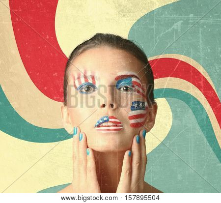 Young woman with creative USA flag makeup on bright background