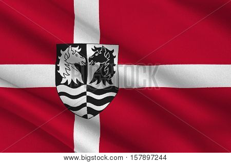 Flag of Faxe is a municipality in Denmark in Region Sjælland on the island of Zealand. 3d illustration
