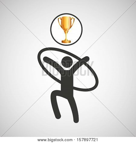 silhouette man artistic gymnastic athlete trophy vector illustration eps 10