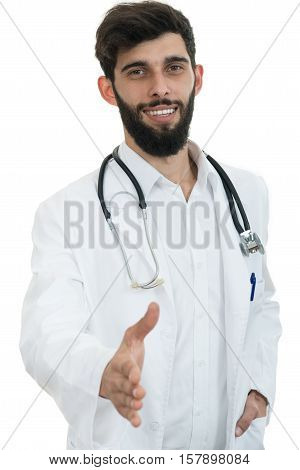 friendly male doctor with open hand ready for shaking.
