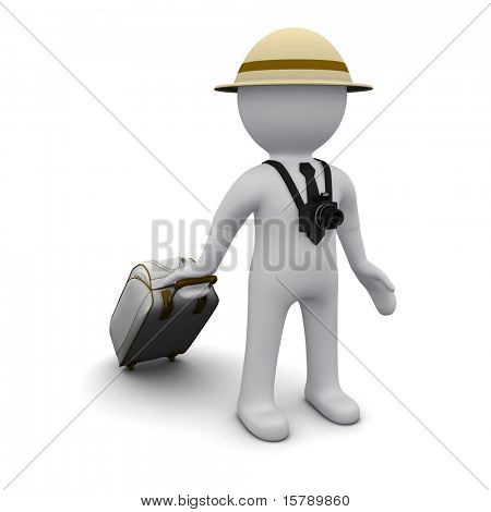 Three-dimensional man in a hat and a suitcase in the image of a tourist.