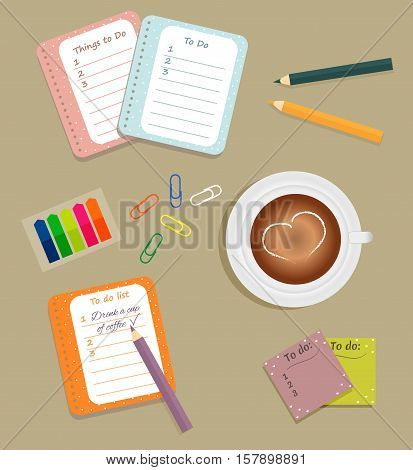 Stationery: The sheets of the planner in a cute polka dots. To Do Lists with little hearts. Multi-colored stiсkers and clips. Cup with coffee on saucer. Vector illustration.