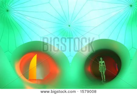 Woman In Green Light