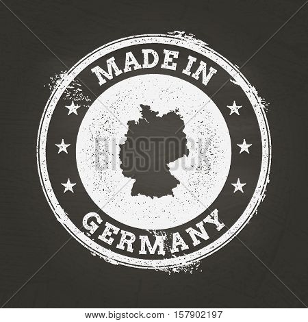 White Chalk Texture Made In Stamp With Federal Republic Of Germany Map On A School Blackboard. Grung