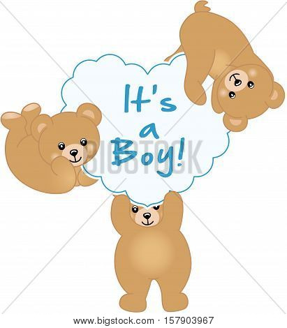 Scalable vectorial image representing a boy teddy bear baby shower, isolated on white.