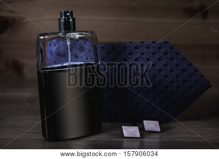 Stylish mens business accessories tie perfume and cufflinks