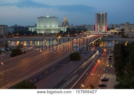 Government of Russian Federation, Novoarbatsky bridge in Moscow, Russia at evening, long exposure