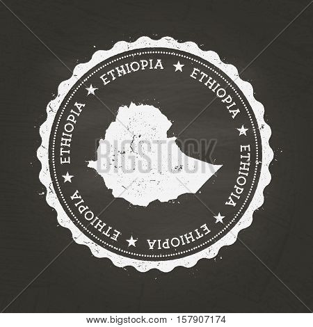 White Chalk Texture Rubber Stamp With Federal Democratic Republic Of Ethiopia Map On A School Blackb
