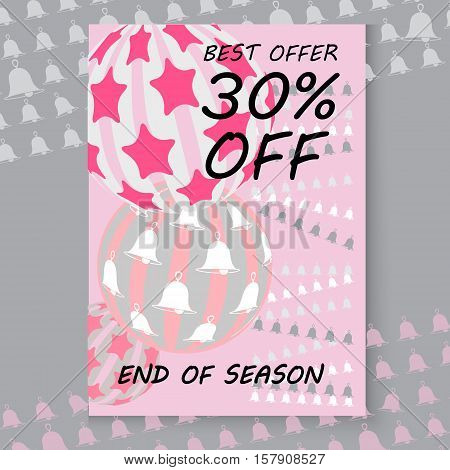 Vector Christmas sale card. Includes balls, bells. Xmas sale offer. Sale sticker with winter emblem. Christmas sale and discount template.