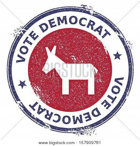 Grunge Broken Democrat Donkeys Rubber Stamp. Usa Presidential Election Patriotic Seal With Broken De
