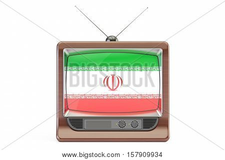 old tv with flag of Iran. Iranian Television concept 3D rendering