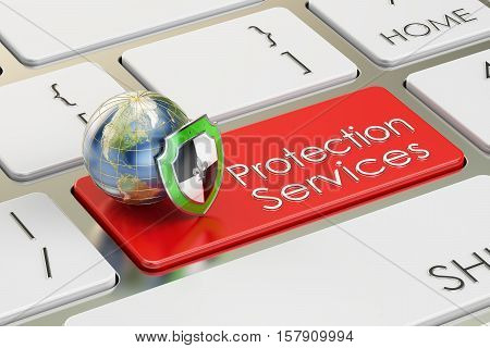 Protection Services concept on keyboard button 3D rendering