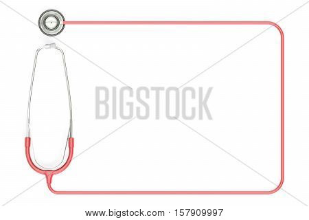 Stethoscope as frame 3D rendering isolated on white background