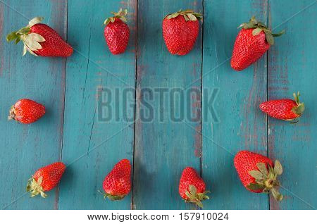 Group Of Fresh Red Strawberries In The Shape Of A Picture Frame