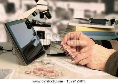 Workplace in the laboratory of genetic research. Toned Image