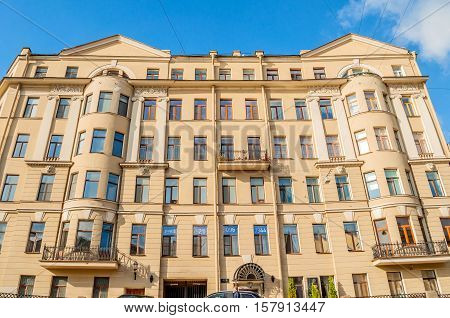 ST PETERSBURG RUSSIA-OCTOBER 3 2016. Historic building in St Petersburg Russia. The former apartment house of Count Fersen. Also the first Mayor of St. Petersburg Anatoly Sobchak lived here