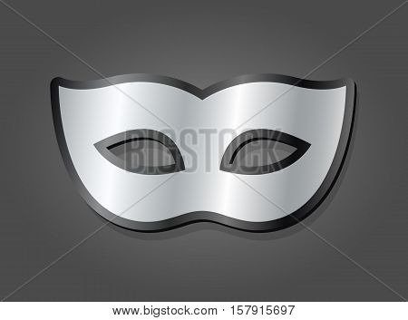 Stylish silver carnival mask with a gradient metallic finish and rounded curves over a grey background vector illustration