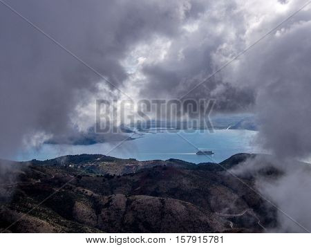 View from Pantokrator hill on Corfu Greek island